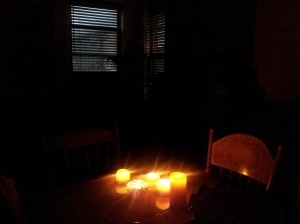 A group of candles lit during the Hurricane Sandy power outage