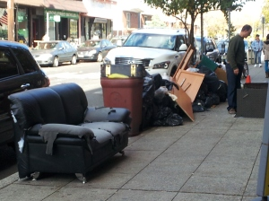 Furniture and other belongings left at the curb in Jersey City after the storm
