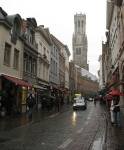 A rainy street scene - Brugge, Belgium