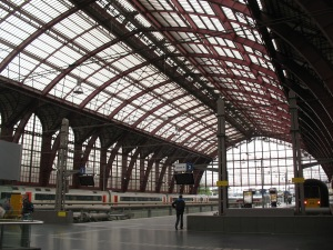 Skylights above the Antwerp Train Station, upper platforms