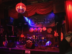 The stage set up at Bourbon Street Blues & Jazz Club in Amsterdam
