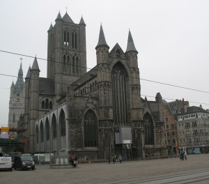 Landmark church in Gent with tram tracks out front - a blending of old and new