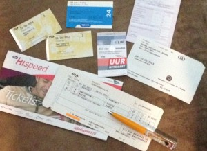 A small variety of tram, high speed, and local train tickets needed to get around