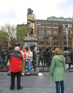 Me taking a photo of tourists taking a photo of themselves in Rembrandt Square - Amsterdam
