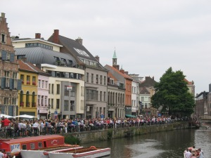Crowds line the canals of Gent city center