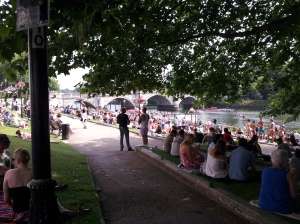 What do the locals do when it's hot and sunny? Lay on the grass, look at the river, and drink lots of beer!