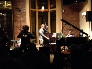 A jazz singer croons a lovely tune at the Monday night JC Jazz Jam
