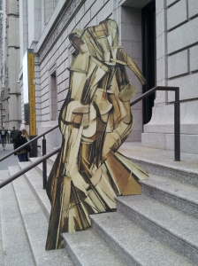 Cutout of Duchamp's Nude Descending a Staircase in front of the NY Historical Society