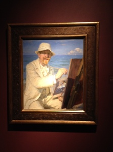 PS Kroyer - Self Portrait - Sitting by his easel at Skagen Beach