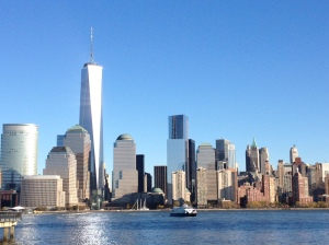 Beautiful lower Manhattan skyline view from Jersey City - Nov 2013