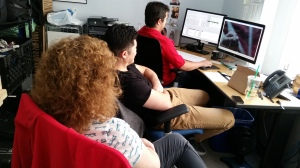 Paul, our editor; Hiroshi Hara our director and me ... intently editing a scene from Jordan's Jackhammer