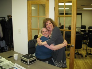 Me hugging Rachel Poy, the co-organizer of Jersey City Writers for all her help on setting up the event