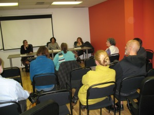 L - R, panelists include: Meg Merriet, Nancy Mendez-Booth and me