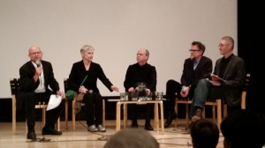Icelandic artist panel. Moderator Gregory Volk on the left, Ragna Robertsdottir, Eggert Petursson and 2 other Icelandic artists discuss their works.