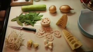 The insides of the bamboo tip, lotus root, and ginger root