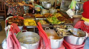 Cambodian Street Food - check out the teeth on those fish in the lower right part of the photo!